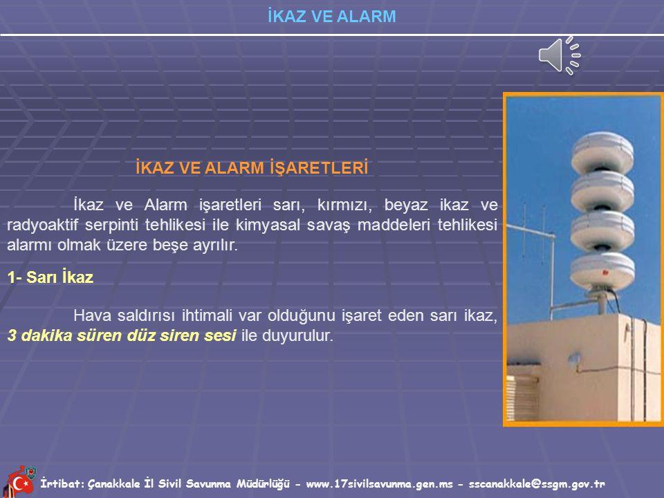 İrtibat: Çanakkale İl Sivil Savunma Müdürlüğü - www.17sivilsavunma.gen.ms - sscanakkale@ssgm.gov.tr İKAZ VE ALARM İKAZ – ALARM SİSTEMİNİN İŞLEYİŞİ? Yu