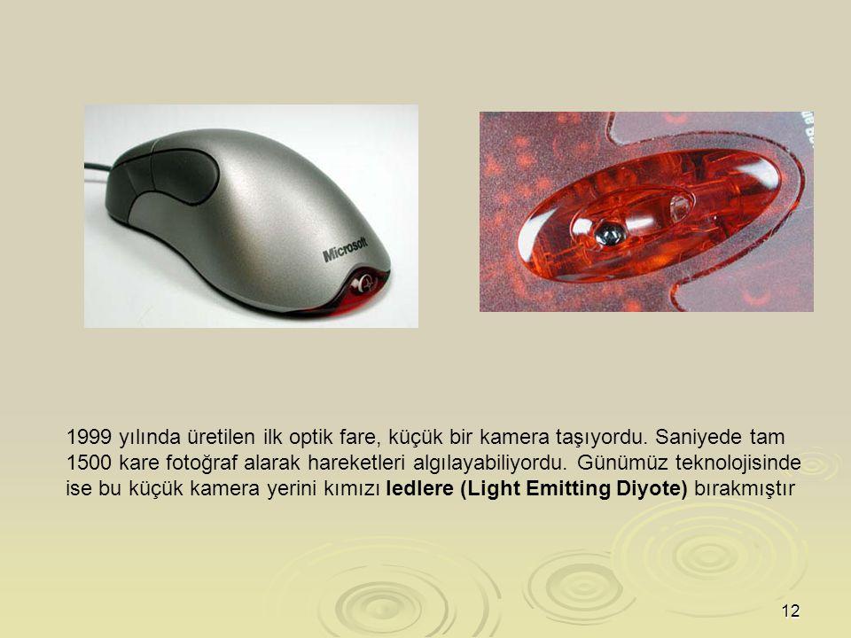 12 1999 yılında üretilen ilk optik fare, küçük bir kamera taşıyordu.