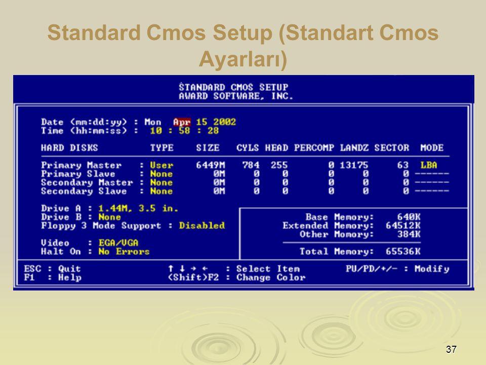 37 Standard Cmos Setup (Standart Cmos Ayarları)