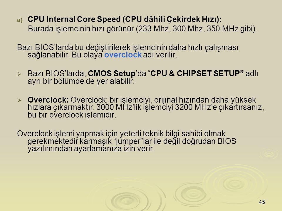 45 a) a) CPU Internal Core Speed (CPU dâhili Çekirdek Hızı): Burada işlemcinin hızı görünür (233 Mhz, 300 Mhz, 350 MHz gibi).