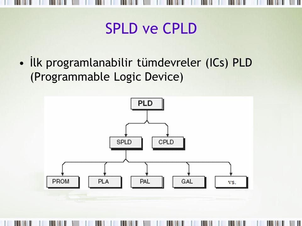 SPLD ve CPLD İlk programlanabilir tümdevreler (ICs) PLD (Programmable Logic Device)