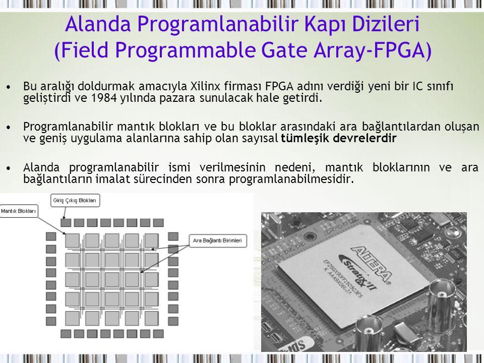 Alanda Programlanabilir Kapı Dizileri (Field Programmable Gate Array-FPGA) Bu aralığı doldurmak amacıyla Xilinx firması FPGA adını verdiği yeni bir IC