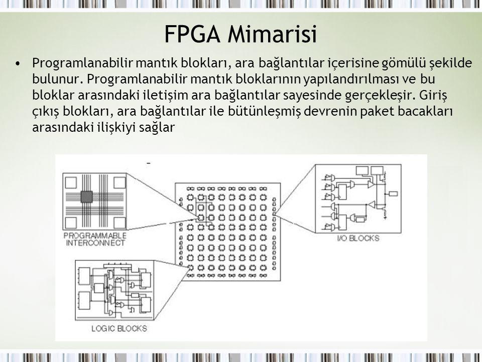 FPGA Mimarisi Programlanabilir mantık blokları, ara bağlantılar içerisine gömülü şekilde bulunur. Programlanabilir mantık bloklarının yapılandırılması