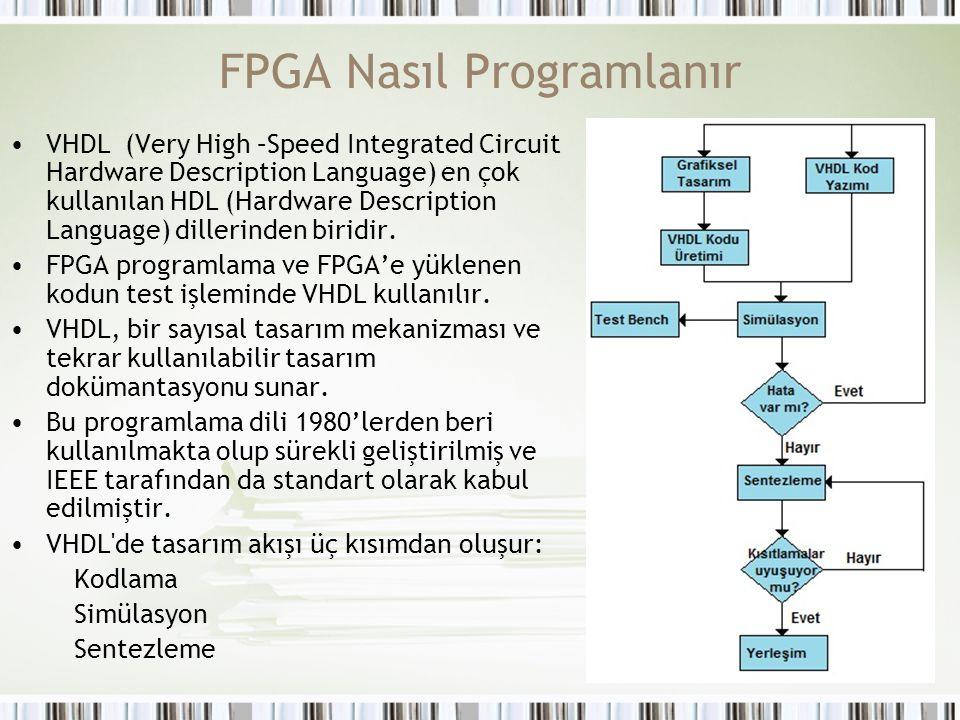 FPGA Nasıl Programlanır VHDL (Very High –Speed Integrated Circuit Hardware Description Language) en çok kullanılan HDL (Hardware Description Language)