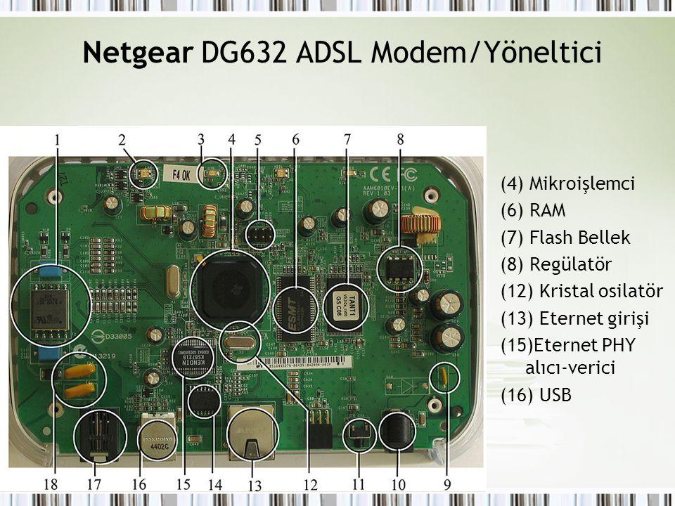 Netgear DG632 ADSL Modem/Yöneltici (4) Mikroişlemci (6) RAM (7) Flash Bellek (8) Regülatör (12) Kristal osilatör (13) Eternet girişi (15)Eternet PHY a