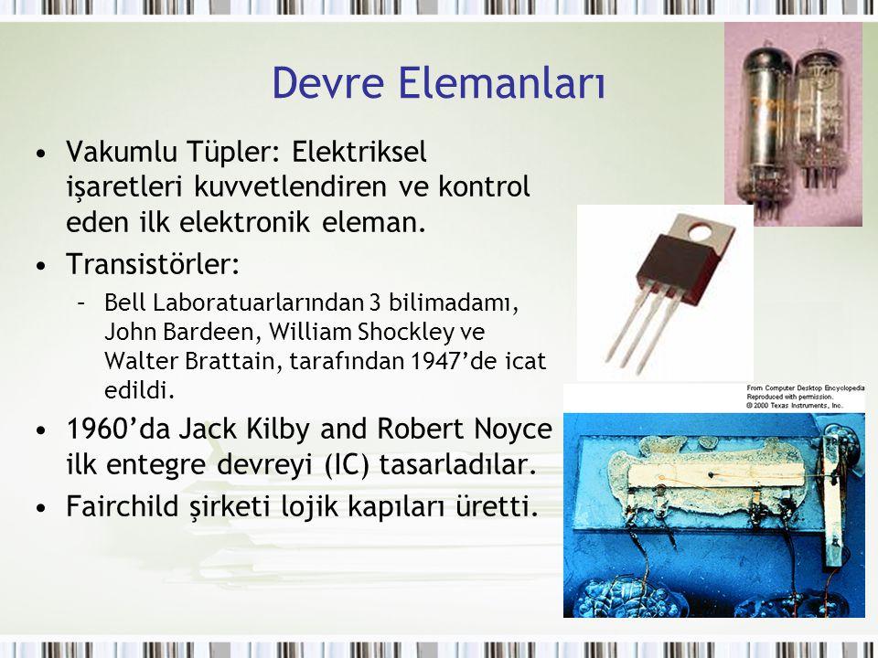 Devre Elemanları Vakumlu Tüpler: Elektriksel işaretleri kuvvetlendiren ve kontrol eden ilk elektronik eleman. Transistörler: –Bell Laboratuarlarından