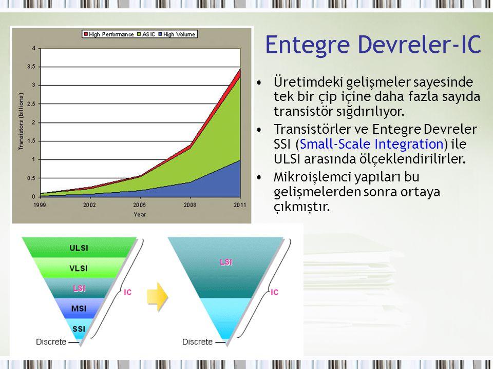 Entegre Devreler-IC Üretimdeki gelişmeler sayesinde tek bir çip içine daha fazla sayıda transistör sığdırılıyor. Transistörler ve Entegre Devreler SSI