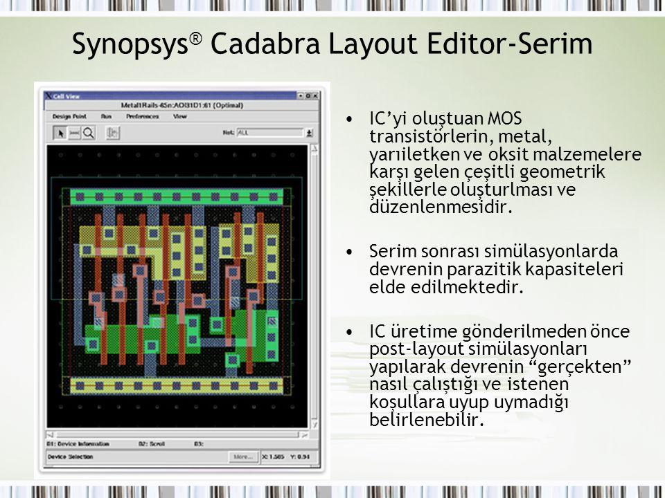 Synopsys ® Cadabra Layout Editor-Serim IC'yi oluştuan MOS transistörlerin, metal, yarıiletken ve oksit malzemelere karşı gelen çeşitli geometrik şekil
