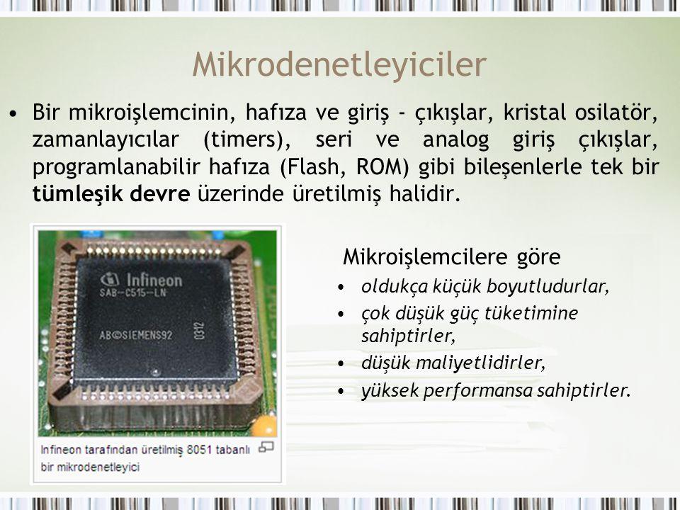 Mikrodenetleyiciler Bir mikroişlemcinin, hafıza ve giriş - çıkışlar, kristal osilatör, zamanlayıcılar (timers), seri ve analog giriş çıkışlar, program
