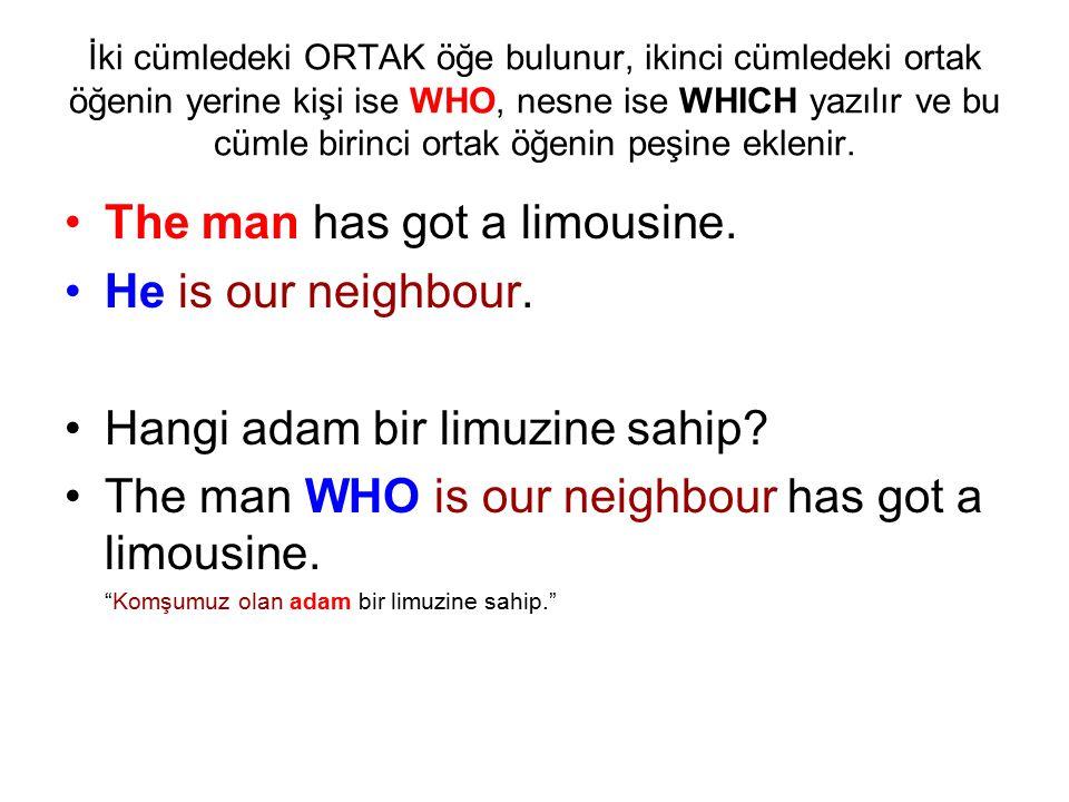 İki cümledeki ORTAK öğe bulunur, ikinci cümledeki ortak öğenin yerine kişi ise WHO, nesne ise WHICH yazılır ve bu cümle birinci ortak öğenin peşine ek