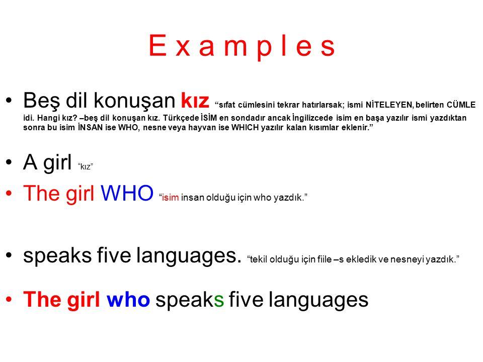 """E x a m p l e s Beş dil konuşan kız """"sıfat cümlesini tekrar hatırlarsak; ismi NİTELEYEN, belirten CÜMLE idi. Hangi kız? –beş dil konuşan kız. Türkçede"""