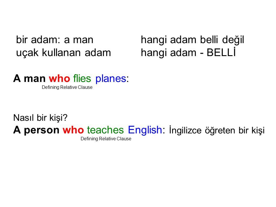 bir adam: a manhangi adam belli değil uçak kullanan adamhangi adam - BELLİ A man who flies planes: Defining Relative Clause Nasıl bir kişi.