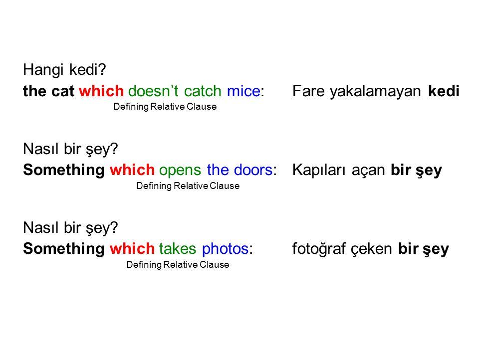 Sıfat cümlesi = Who, which, that + fiil + nesne Sıfat cümleleri kullanılmadığında KİMDEN veya NEDEN bahsettiğimiz belli olmaz.