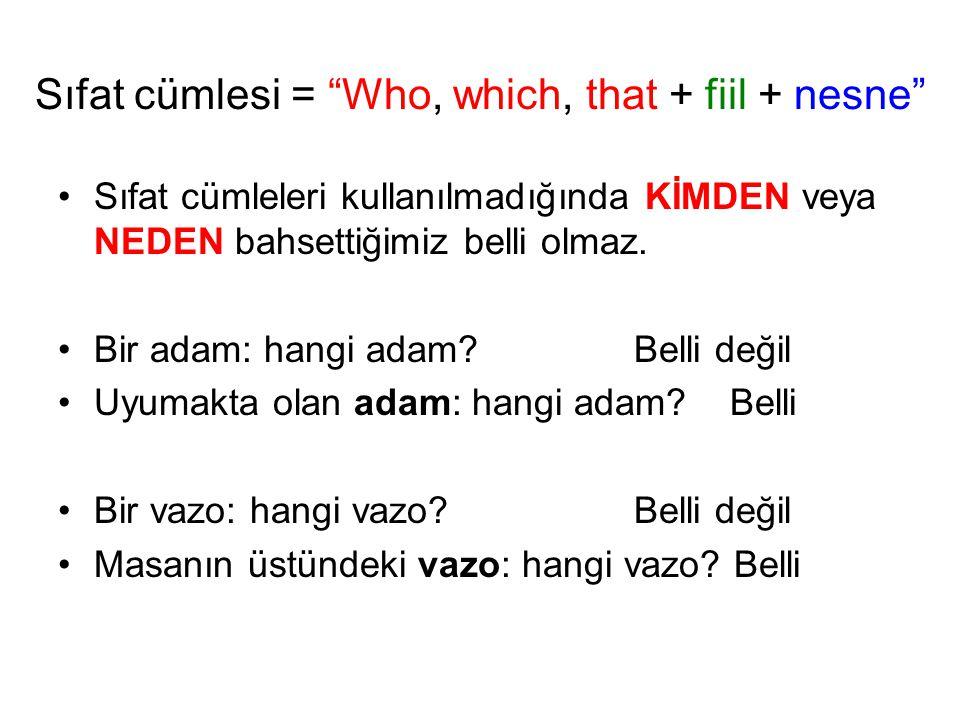 """Sıfat cümlesi = """"Who, which, that + fiil + nesne"""" Sıfat cümleleri kullanılmadığında KİMDEN veya NEDEN bahsettiğimiz belli olmaz. Bir adam: hangi adam?"""