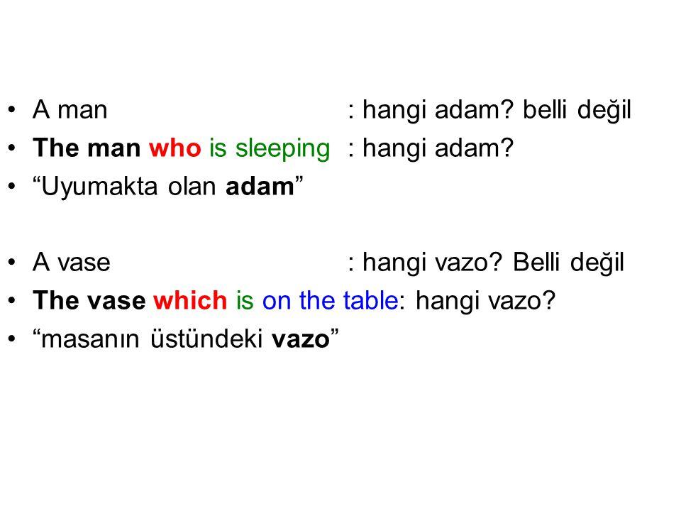 "A man: hangi adam? belli değil The man who is sleeping: hangi adam? ""Uyumakta olan adam"" A vase: hangi vazo? Belli değil The vase which is on the tabl"