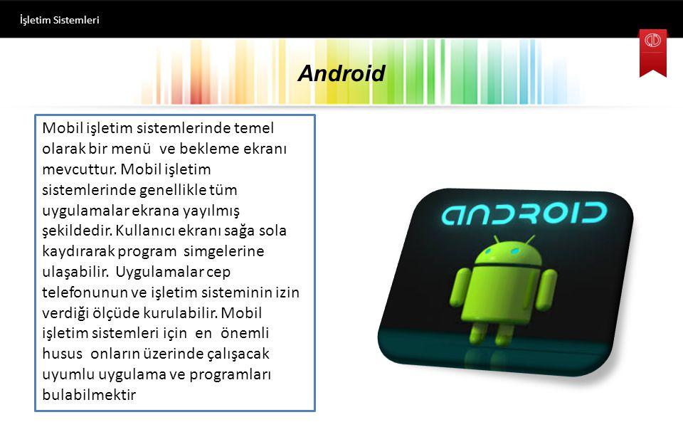 Android İşletim Sistemleri Android işletim sistemine sahip bir ekran.