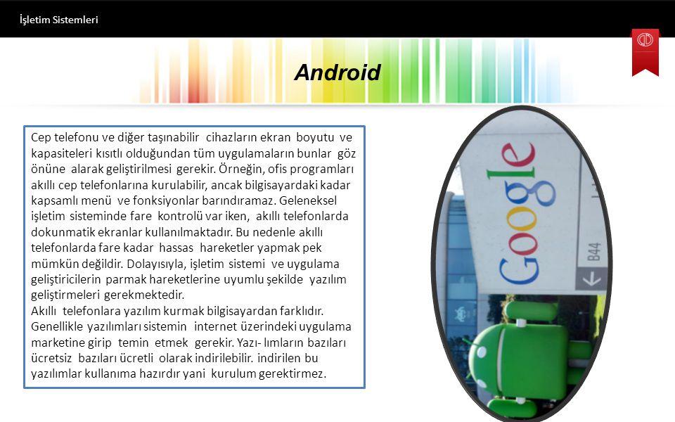 Android İşletim Sistemleri Mobil işletim sistemlerinde temel olarak bir menü ve bekleme ekranı mevcuttur. Mobil işletim sistemlerinde genellikle tüm u