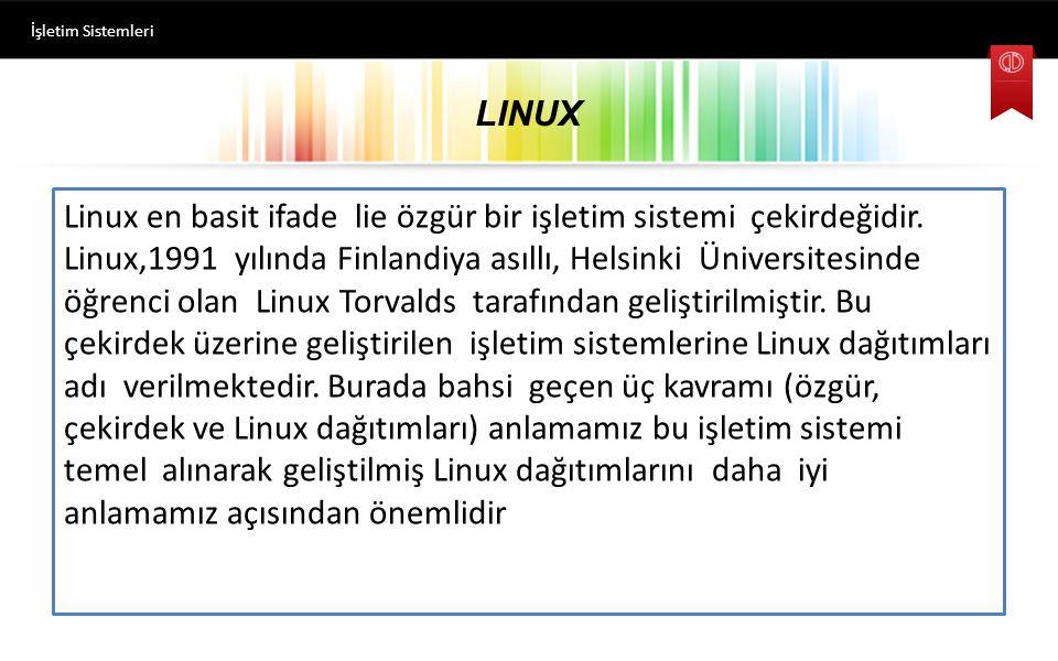 LINUX Linux en basit ifade lie özgür bir işletim sistemi çekirdeğidir.