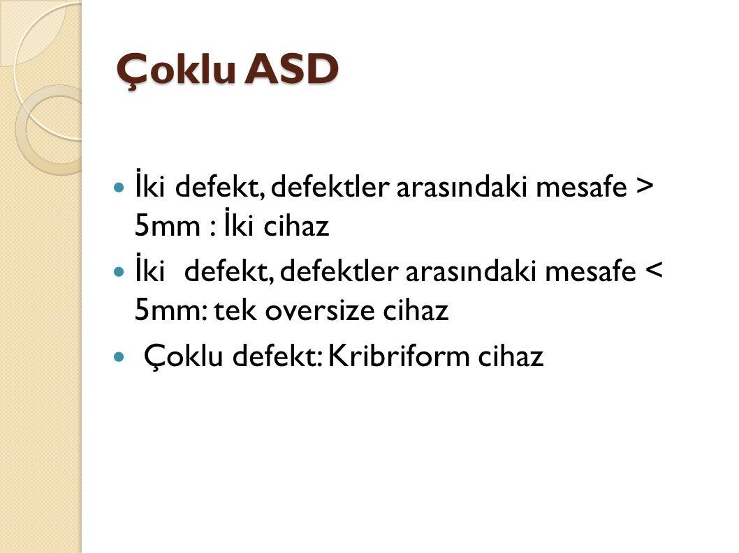 Çoklu ASD İ ki defekt, defektler arasındaki mesafe > 5mm : İ ki cihaz İ ki defekt, defektler arasındaki mesafe < 5mm: tek oversize cihaz Çoklu defekt: