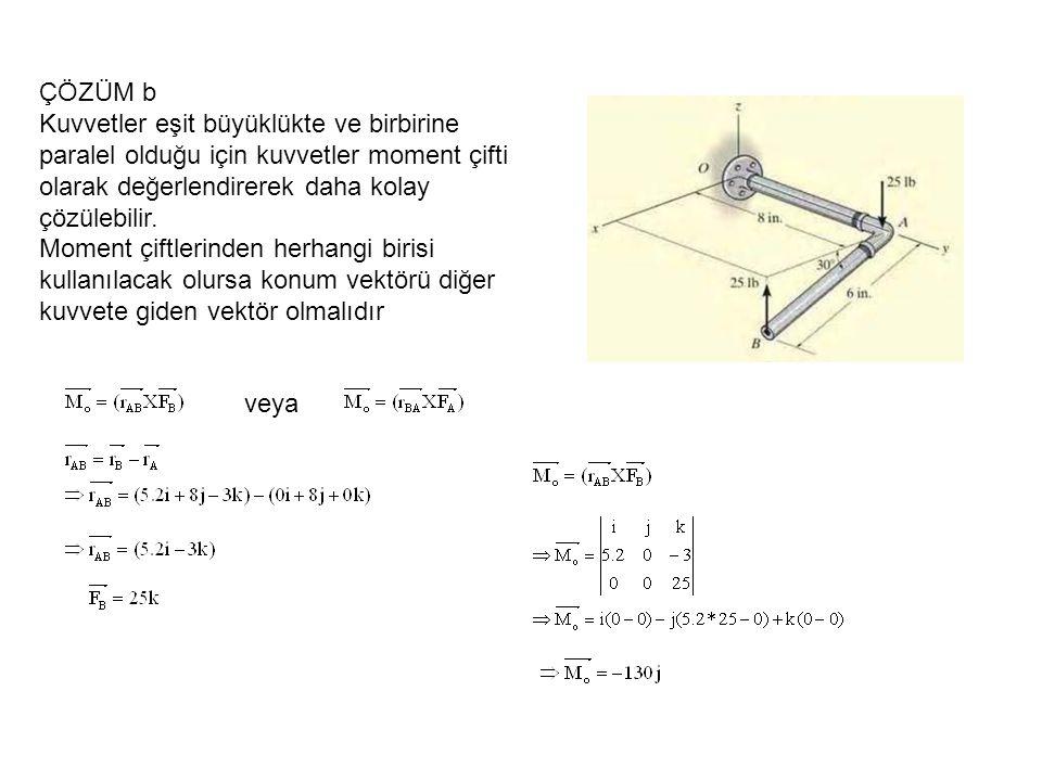 ÇÖZÜM b Kuvvetler eşit büyüklükte ve birbirine paralel olduğu için kuvvetler moment çifti olarak değerlendirerek daha kolay çözülebilir. Moment çiftle