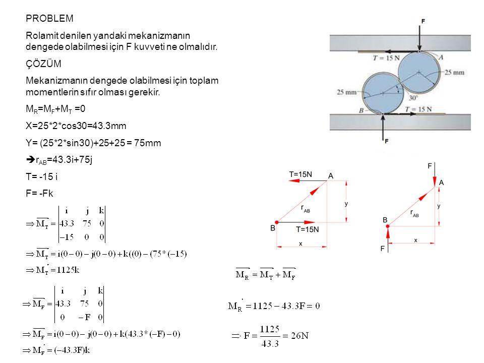 PROBLEM Rolamit denilen yandaki mekanizmanın dengede olabilmesi için F kuvveti ne olmalıdır. ÇÖZÜM Mekanizmanın dengede olabilmesi için toplam momentl