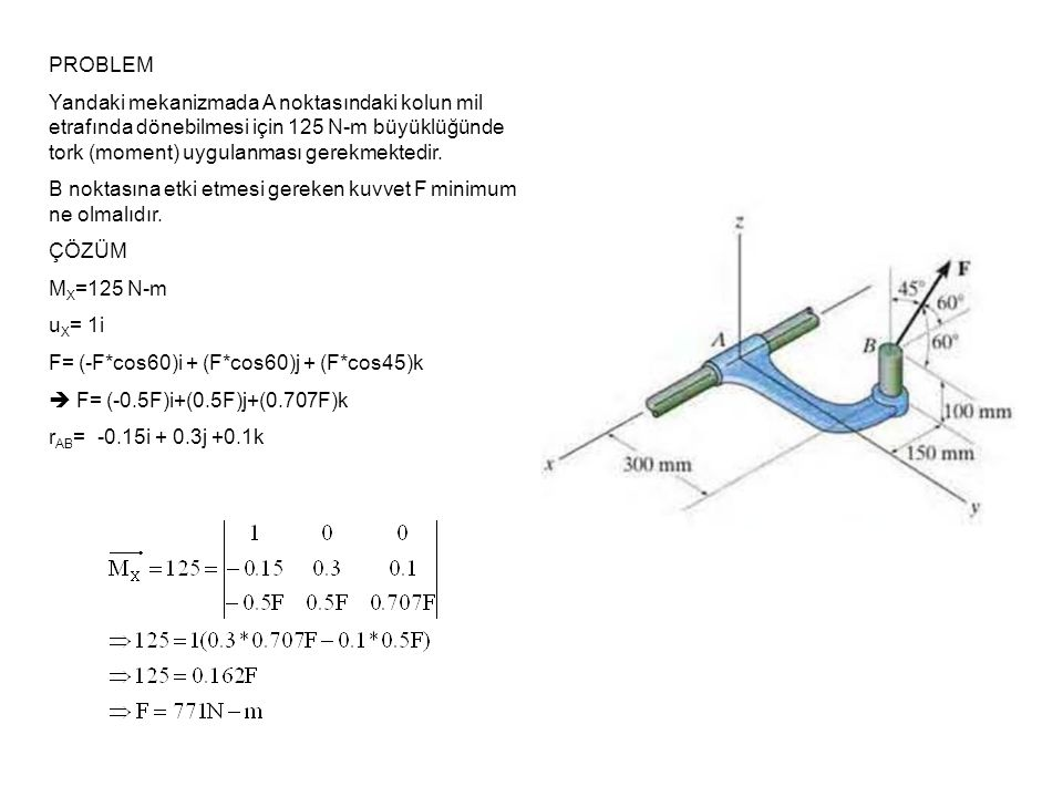 PROBLEM Resimdeki yapıda ortaya çıkacak toplam momenti bulunuz ÇÖZÜM Önce moment çiftlerini ayıralım ve etkin kuvvet ve kuvvet kollarını kartezyen koordinatlarda yazalım F D =(150*cos30)i - (150*sin30)j F D = 130 i -75 j r CD = 4i+4j
