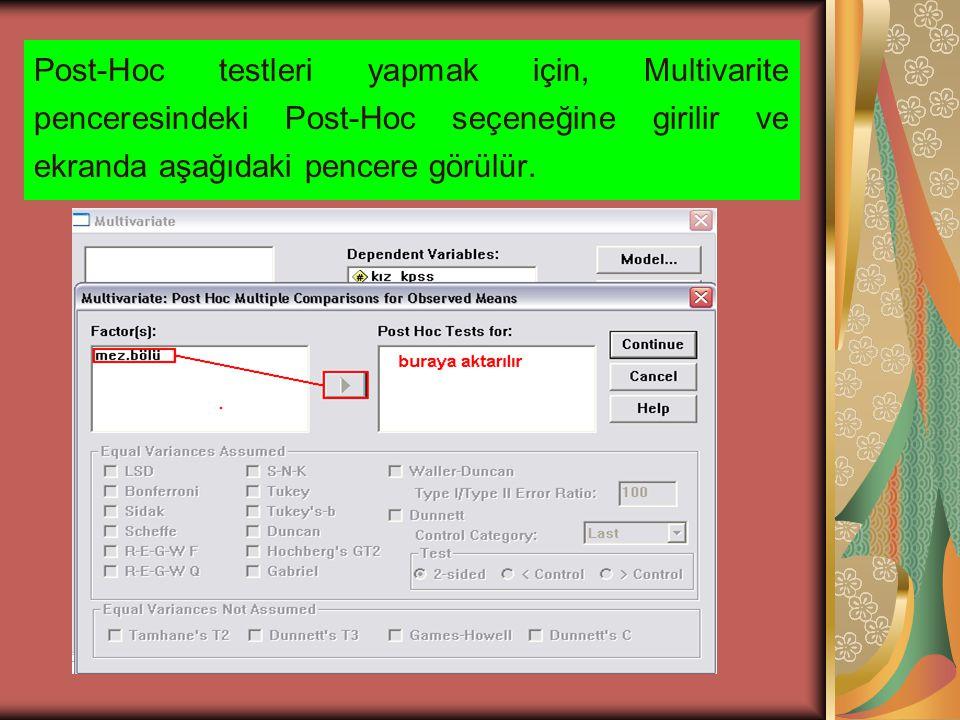 Post-Hoc testleri yapmak için, Multivarite penceresindeki Post-Hoc seçeneğine girilir ve ekranda aşağıdaki pencere görülür.
