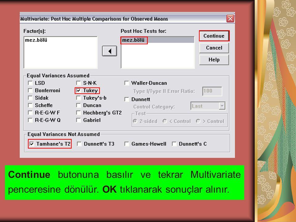 Continue butonuna basılır ve tekrar Multivariate penceresine dönülür.