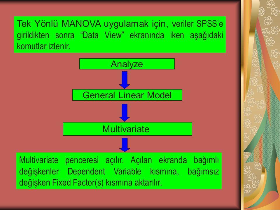 Tek Yönlü MANOVA uygulamak için, v eriler SPSS'e girildikten sonra Data View ekranında iken aşağıdaki komutlar izlenir.