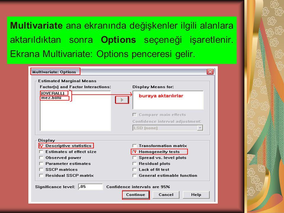Multivariate: Options penceresinde bulunan Foctor(s) and Factor Interactions kısmındaki tüm seçenekler Display Means for: kısmına aktarılır.
