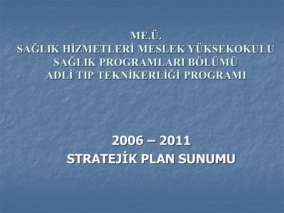 ME.Ü. SAĞLIK HİZMETLERİ MESLEK YÜKSEKOKULU SAĞLIK PROGRAMLARI BÖLÜMÜ ADLİ TIP TEKNİKERLİĞİ PROGRAMI 2006 – 2011 STRATEJİK PLAN SUNUMU