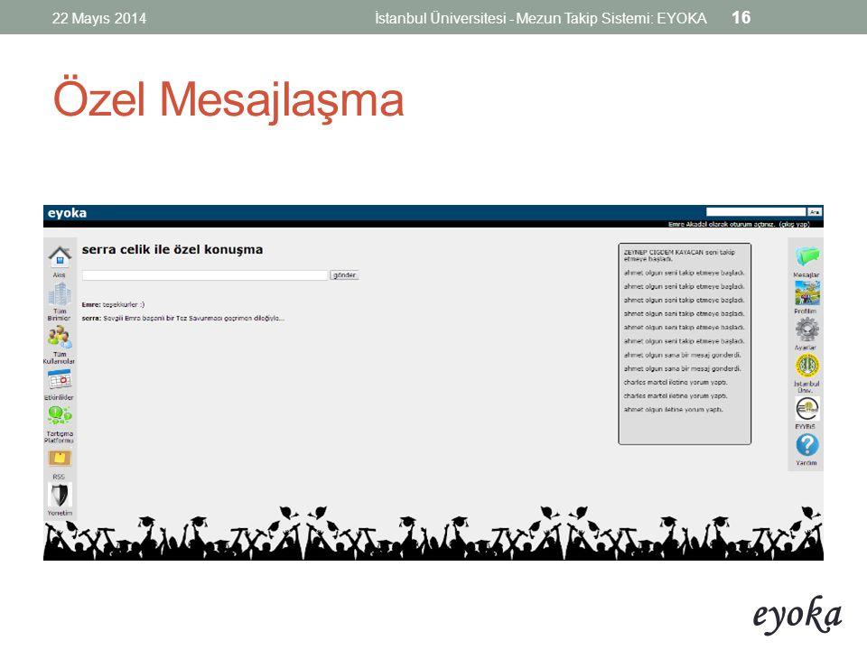 eyoka Özel Mesajlaşma 22 Mayıs 2014İstanbul Üniversitesi - Mezun Takip Sistemi: EYOKA 16
