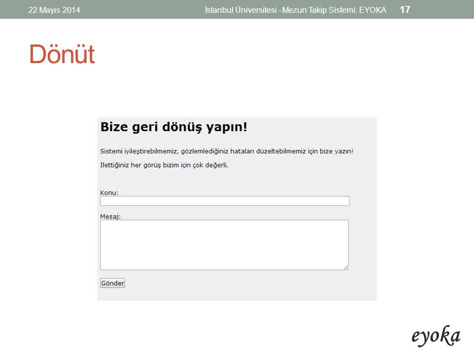 eyoka Dönüt 22 Mayıs 2014İstanbul Üniversitesi - Mezun Takip Sistemi: EYOKA 17