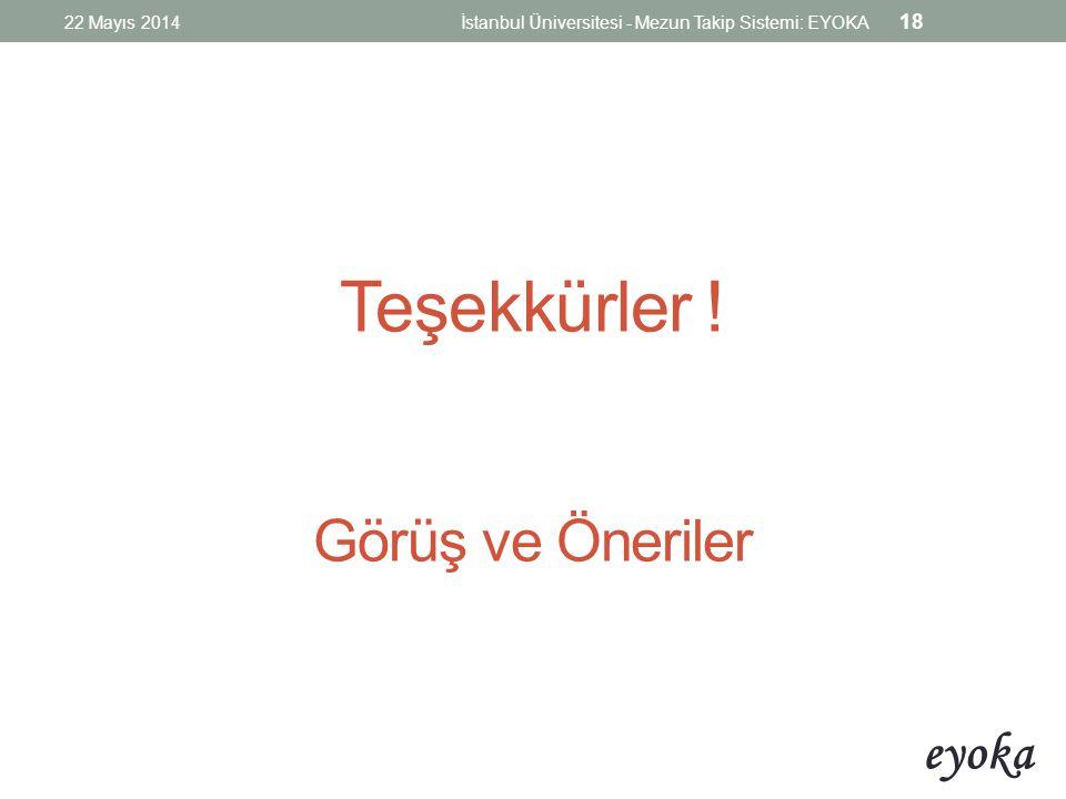 eyoka Teşekkürler ! Görüş ve Öneriler 22 Mayıs 2014İstanbul Üniversitesi - Mezun Takip Sistemi: EYOKA 18