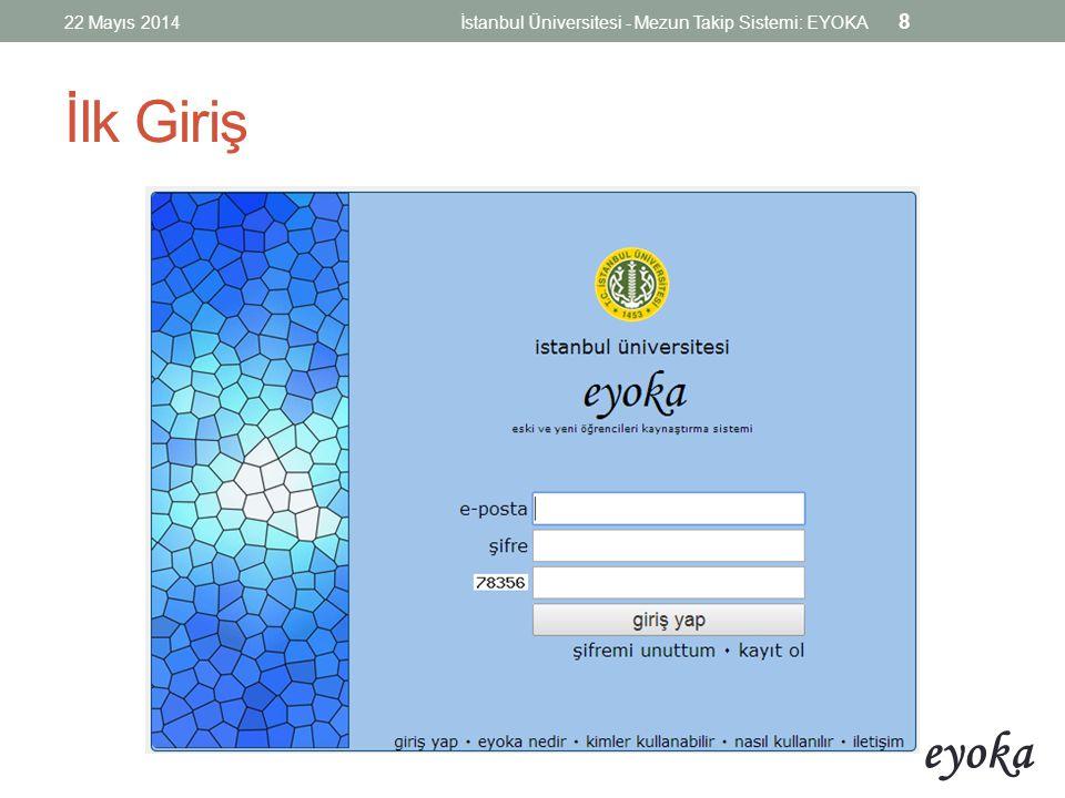 eyoka İlk Ekran / Akış 22 Mayıs 2014İstanbul Üniversitesi - Mezun Takip Sistemi: EYOKA 9