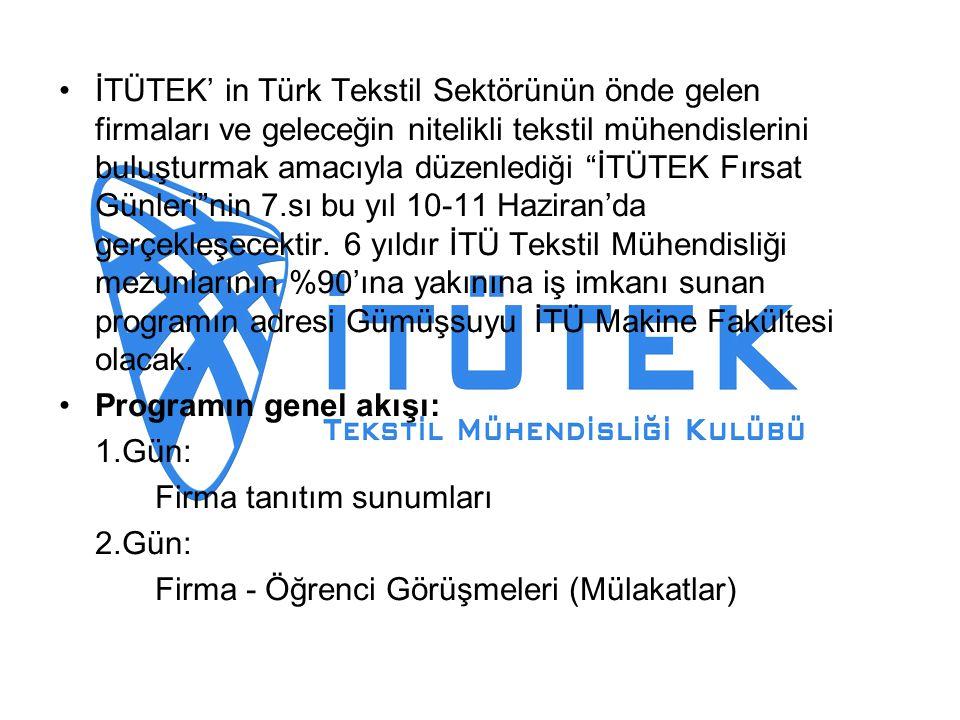 İTÜTEK' in Türk Tekstil Sektörünün önde gelen firmaları ve geleceğin nitelikli tekstil mühendislerini buluşturmak amacıyla düzenlediği İTÜTEK Fırsat Günleri nin 7.sı bu yıl 10-11 Haziran'da gerçekleşecektir.