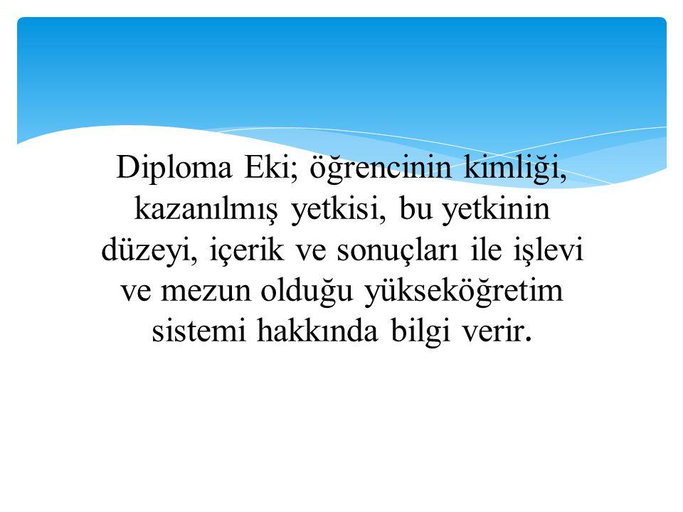 Diploma Eki; öğrencinin kimliği, kazanılmış yetkisi, bu yetkinin düzeyi, içerik ve sonuçları ile işlevi ve mezun olduğu yükseköğretim sistemi hakkında