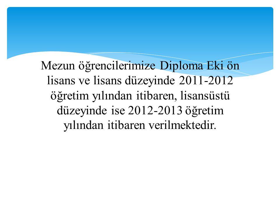 Mezun öğrencilerimize Diploma Eki ön lisans ve lisans düzeyinde 2011-2012 öğretim yılından itibaren, lisansüstü düzeyinde ise 2012-2013 öğretim yılınd