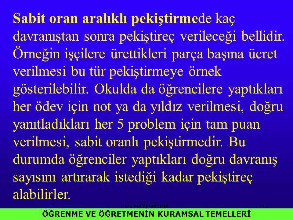 Dr. Mustafa Ergün12 ÖĞRENME VE ÖĞRETMENİN KURAMSAL TEMELLERİ Sabit oran aralıklı pekiştirmede kaç davranıştan sonra pekiştireç verileceği bellidir. Ör