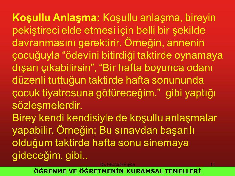 Dr. Mustafa Ergün14 ÖĞRENME VE ÖĞRETMENİN KURAMSAL TEMELLERİ Koşullu Anlaşma: Koşullu anlaşma, bireyin pekiştireci elde etmesi için belli bir şekilde