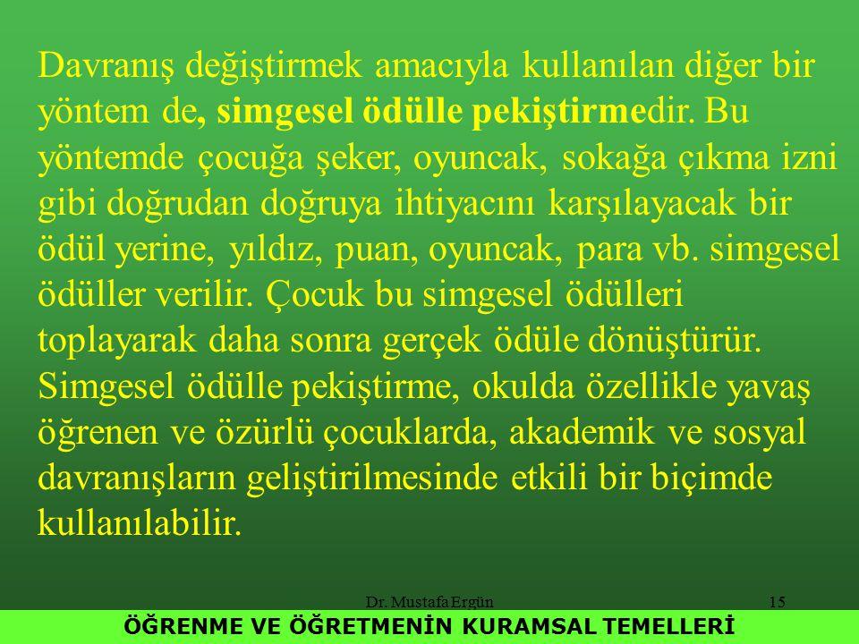 Dr. Mustafa Ergün15 ÖĞRENME VE ÖĞRETMENİN KURAMSAL TEMELLERİ Davranış değiştirmek amacıyla kullanılan diğer bir yöntem de, simgesel ödülle pekiştirmed