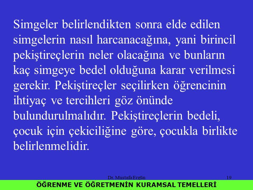 Dr. Mustafa Ergün19 ÖĞRENME VE ÖĞRETMENİN KURAMSAL TEMELLERİ Simgeler belirlendikten sonra elde edilen simgelerin nasıl harcanacağına, yani birincil p