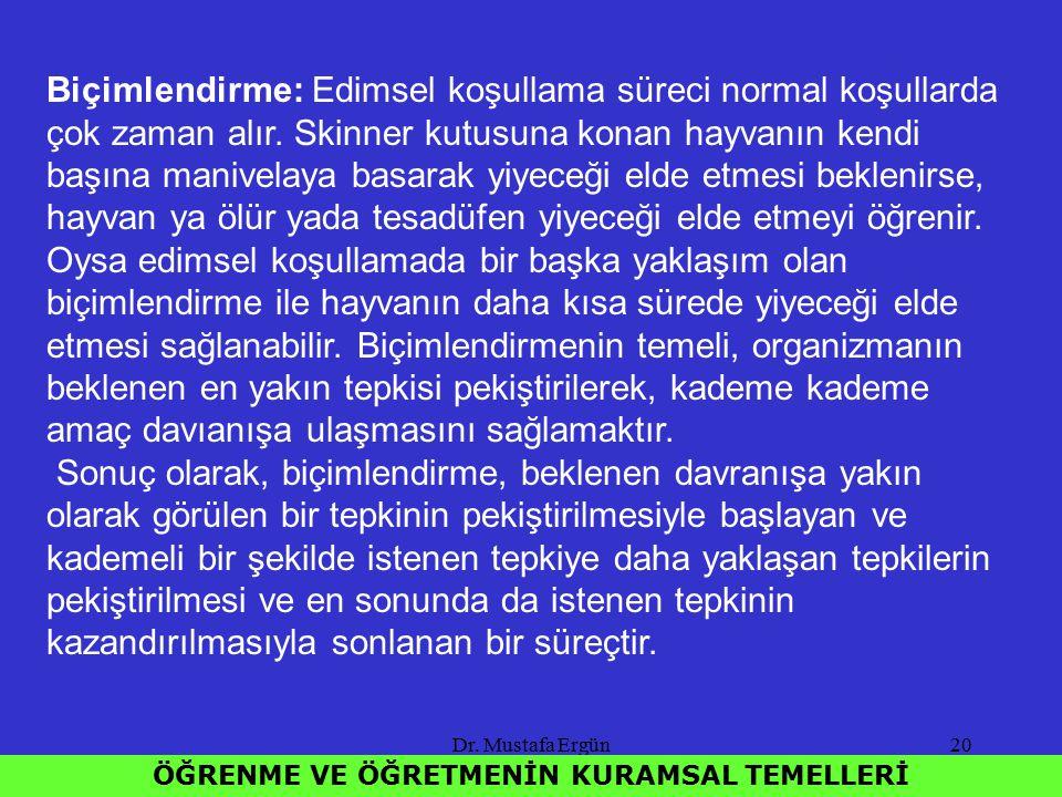 Dr. Mustafa Ergün20 ÖĞRENME VE ÖĞRETMENİN KURAMSAL TEMELLERİ Biçimlendirme: Edimsel koşullama süreci normal koşullarda çok zaman alır. Skinner kutusun