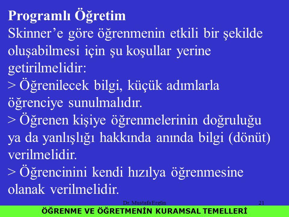 Dr. Mustafa Ergün21 ÖĞRENME VE ÖĞRETMENİN KURAMSAL TEMELLERİ Programlı Öğretim Skinner'e göre öğrenmenin etkili bir şekilde oluşabilmesi için şu koşul