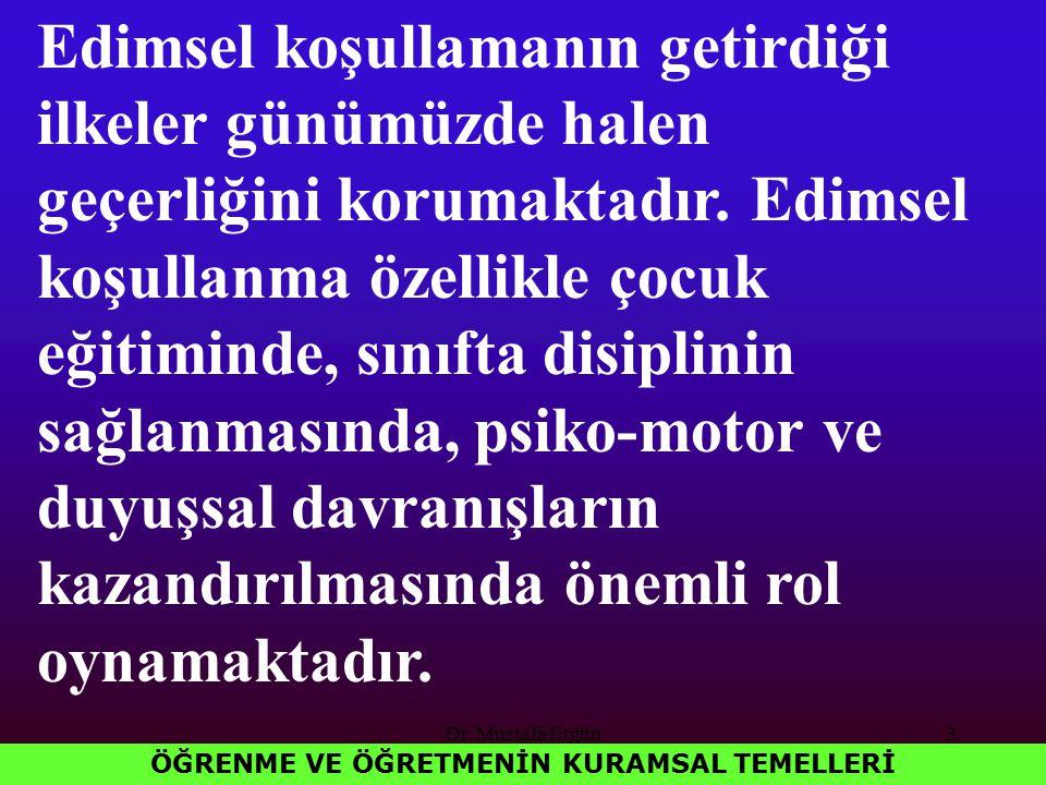 Dr. Mustafa Ergün3 ÖĞRENME VE ÖĞRETMENİN KURAMSAL TEMELLERİ Edimsel koşullamanın getirdiği ilkeler günümüzde halen geçerliğini korumaktadır. Edimsel k