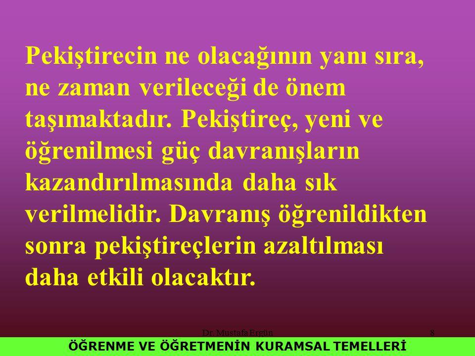 Dr. Mustafa Ergün8 ÖĞRENME VE ÖĞRETMENİN KURAMSAL TEMELLERİ Pekiştirecin ne olacağının yanı sıra, ne zaman verileceği de önem taşımaktadır. Pekiştireç