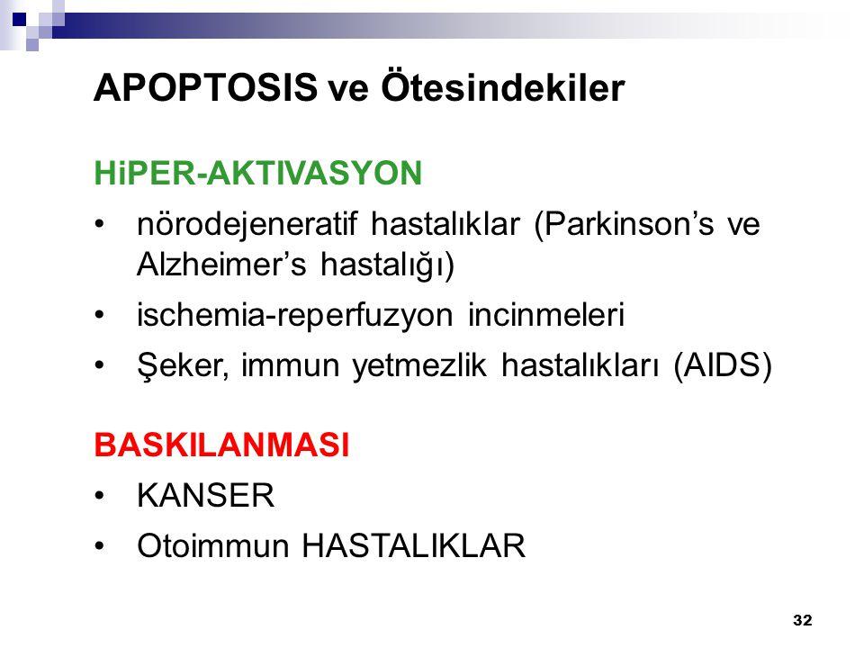 32 APOPTOSIS ve Ötesindekiler HiPER-AKTIVASYON nörodejeneratif hastalıklar (Parkinson's ve Alzheimer's hastalığı) ischemia-reperfuzyon incinmeleri Şek