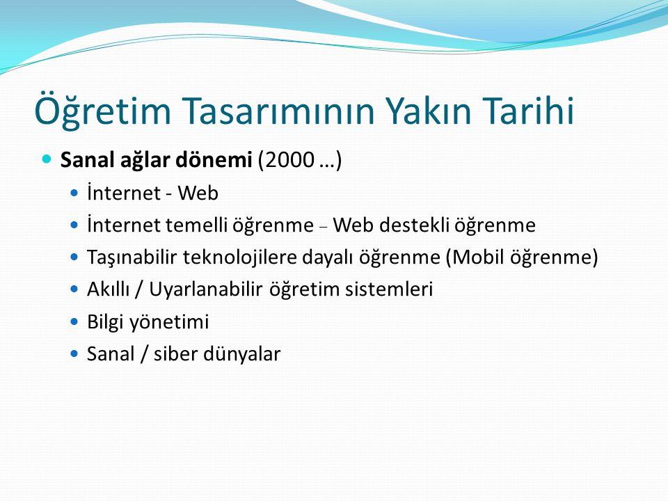 Öğretim Tasarımının Yakın Tarihi Sanal ağlar dönemi (2000 …) İnternet - Web İnternet temelli öğrenme – Web destekli öğrenme Taşınabilir teknolojilere