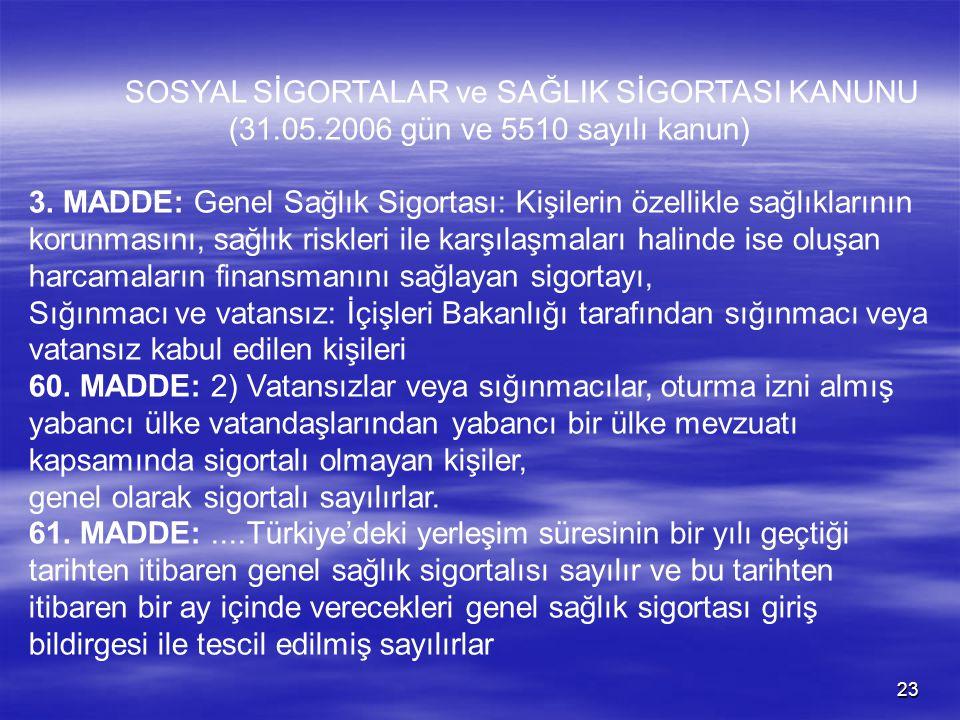 22 SAĞLIK HİZMETLERİ Türkiye'den sığınmacı veya mülteci statüsünde ikametine izin verilen yabancıların sağlık hizmetlerinin yürütülmesi 22.06.2006 gün