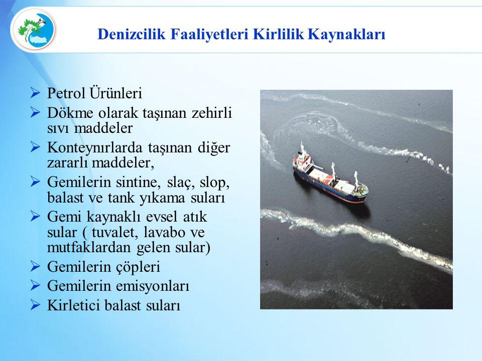 Denizcilik Faaliyetleri Kirlilik Kaynakları  Petrol Ürünleri  Dökme olarak taşınan zehirli sıvı maddeler  Konteynırlarda taşınan diğer zararlı madd